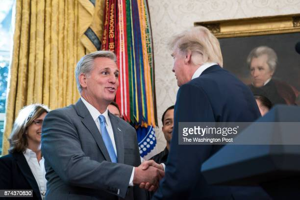 President Donald Trump greets House Majority Leader Kevin McCarthy RCalif as he arrives at an event to announce that Broadcom is moving its global...