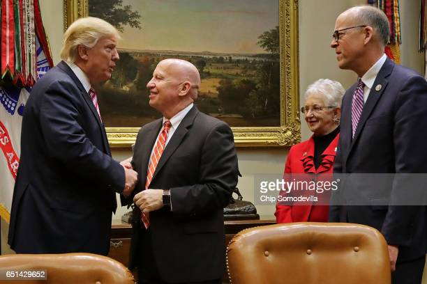 S President Donald Trump greets House of Representatives committee leaders Ways and Means Committee Chairman Kevin Brady Education and Workforce...