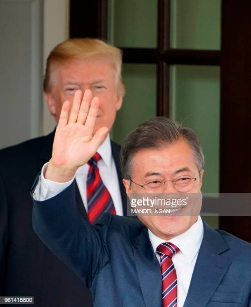 President Donald Trump greets South Korea's President Moon Jae-in upon his arrival at the White House for meetings on May 22, 2018 in Washington, DC.