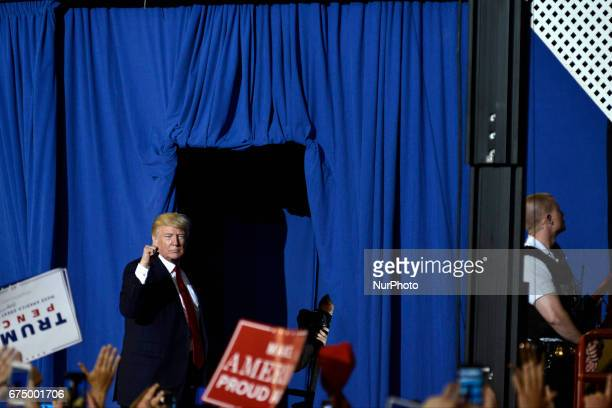 President Donald Trump greets supporters after a April 29 2017 rally in Harrisburg PA The Make America Great Again event is to celebrate the...