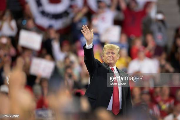 President Donald Trump greets supporters after speaking during a campaign rally at the Amsoil Arena on June 20, 2018 in Duluth Minnesota. Earlier...