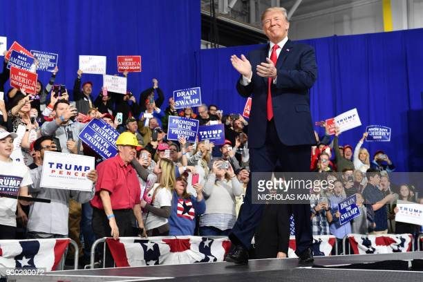 President Donald Trump greets supporters at the Make America Great Again Rally on March 10 2018 in Moon Township Pennsylvania President Trump...