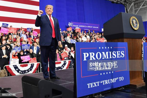 US President Donald Trump greets supporters at the Make America Great Again Rally on March 10 2018 in Moon Township Pennsylvania President Trump...