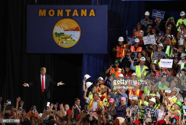 S president Donald Trump greets supporters during a campaign rally at Four Seasons Arena on July 5 2018 in Great Falls Montana President Trump held a...