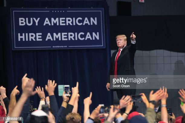 President Donald Trump greets supporters during a rally at the Van Andel Arena on March 28 2019 in Grand Rapids Michigan Grand Rapids was the final...