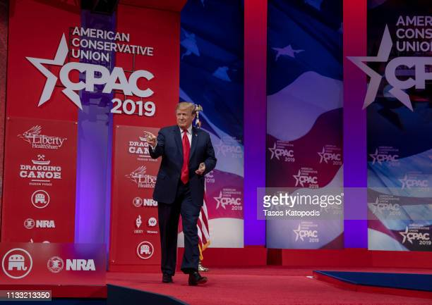 US President Donald Trump greets supporters during CPAC 2019 on March 02 2019 in National Harbor Maryland The American Conservative Union hosts the...