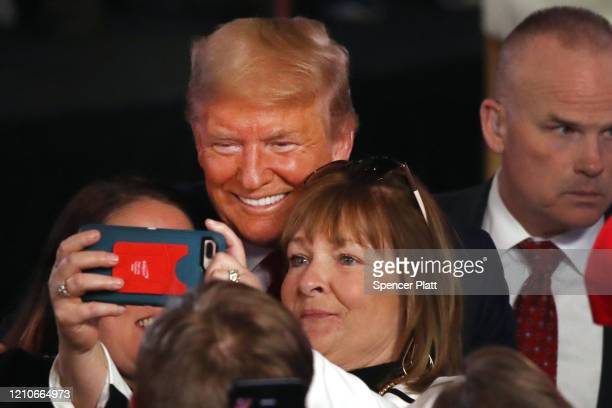 President Donald Trump greets supporters following a Fox News Town Hall event with moderators Bret Baier and Martha MacCallum on March 05 2020 in...