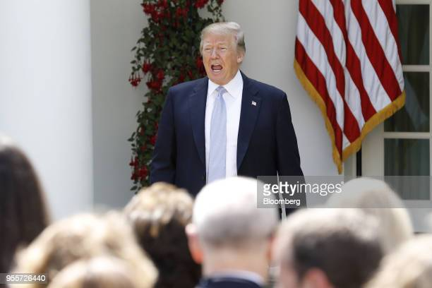 US President Donald Trump greets the audience during a 'Be Best' initiative event in the Rose Garden of the White House in Washington DC US on Monday...