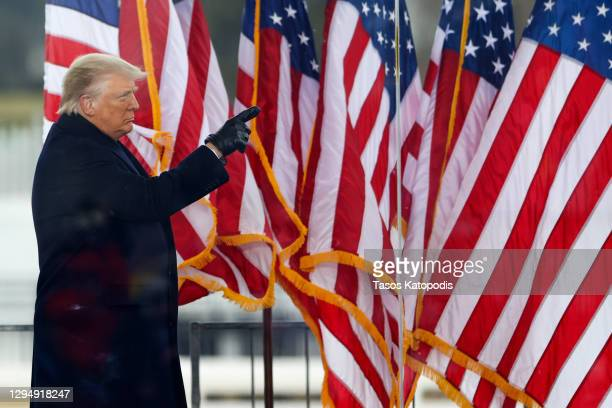 """President Donald Trump greets the crowd at the """"Stop The Steal"""" Rally on January 06, 2021 in Washington, DC. Trump supporters gathered in the..."""