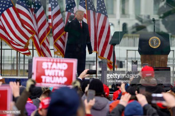 "President Donald Trump greets the crowd at the ""Stop The Steal"" Rally on January 06, 2021 in Washington, DC. Trump supporters gathered in the..."