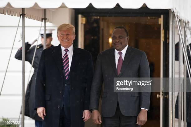 US President Donald Trump greets Uhuru Kenyatta Kenya's president right outside of the White House in Washington DC US on Thursday Feb 6 2020...