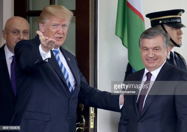 S President Donald Trump greets Uzbekistan President Shavkat Mirziyoyev at the White House May 16 2018 in Washington DC The two leaders are scheduled...
