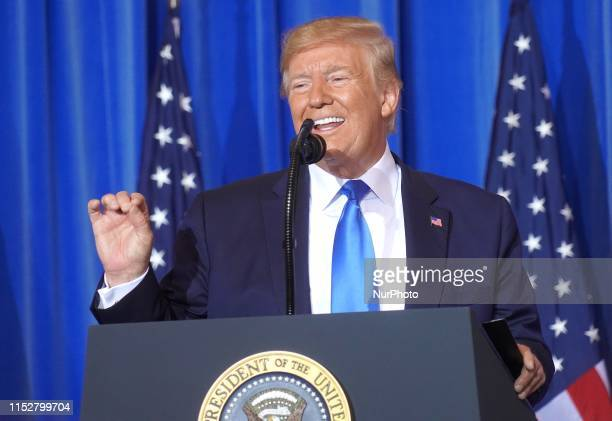 US President Donald Trump held a press conference during G20 Summit on June 29 2019 in Osaka Japan