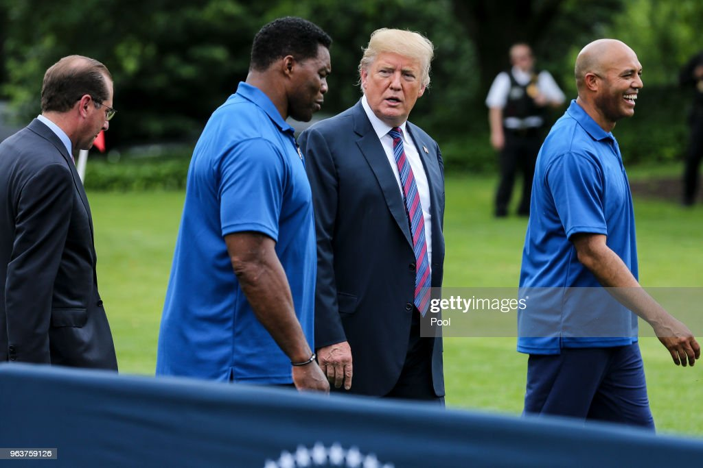 President Donald Trump hosts the White House Sports and Fitness Day : News Photo
