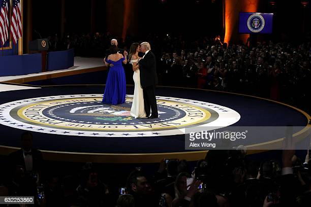 President Donald Trump, his wife First Lady Melania Trump, Vice President Mike Pence and Karen Pence dance during A Salute To Our Armed Services...