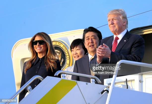 US President Donald Trump his wife Melania Japanese Prime Minister Shinzo Abe and his wife Akie Abe are seen on arrival at Palm Beach International...