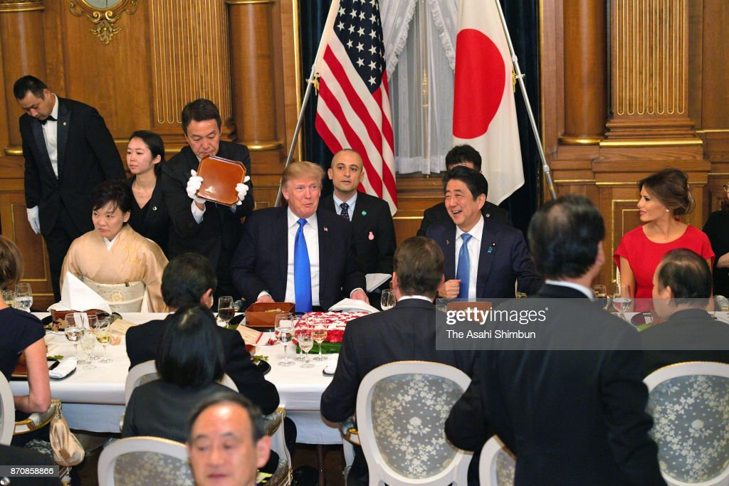 U.S. President Donald Trump, his wife Melania, Japanese Prime Minister Shinzo Abe and his wife Akie attend the dinner hosted by Abe at the prime minister's official residence on November 6, 2017 in Tokyo, Japan. Trump is on 11-day tour to Asia.