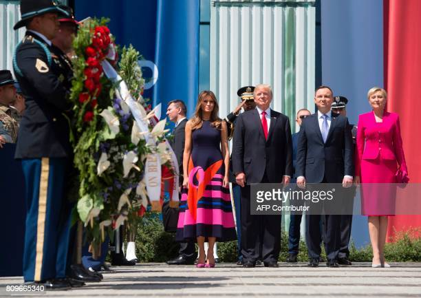 US President Donald Trump his wife Melania Trump and the Polish President Andrzej Duda and his wife Agata KornhauserDuda near the Warsaw Uprising...