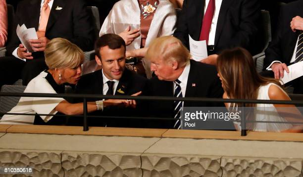 President Donald Trump his wife Melania Trump French President Emmanuel Macron and his wife Brigitte Macron attend a concert at the Elbphilharmonie...
