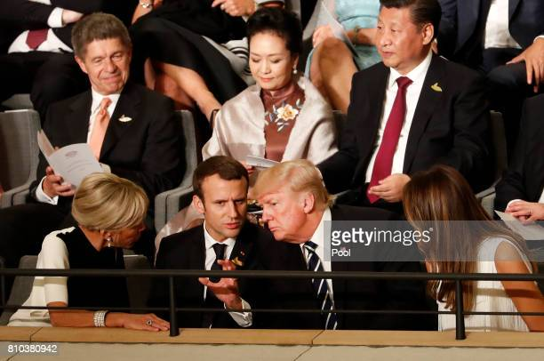 President Donald Trump his wife Melania Trump French President Emmanuel Macron his wife Brigitte Macron Chinese President Xi Jinping his wife Peng...