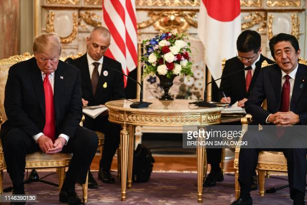 President Donald Trump holds a bilateral meeting with Japan's Prime Minister Shinzo Abe at Akasaka Palace in Tokyo on May 27, 2019.