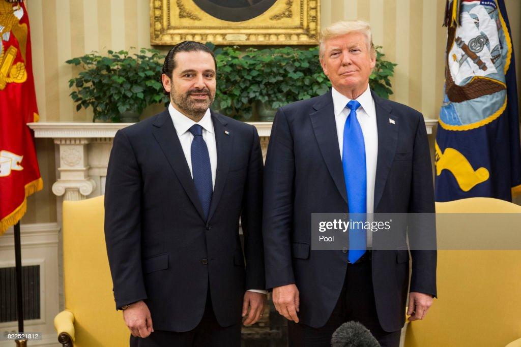 President Trump Hosts Lebanese Prime Minister Saad Hariri At The White House : News Photo