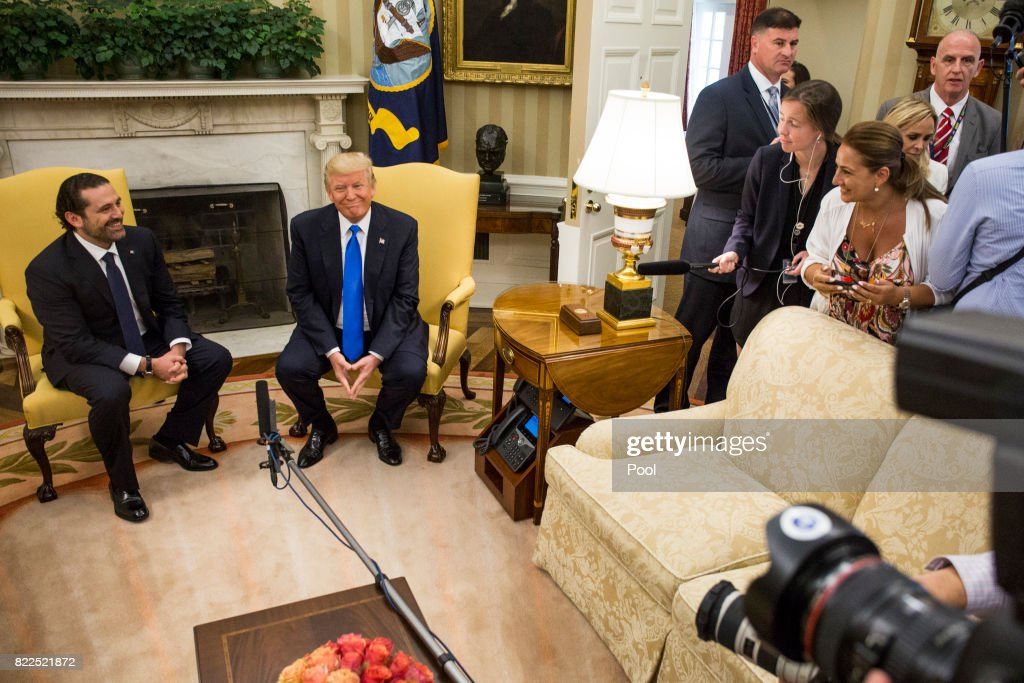 U.S. President Donald Trump holds a bi-lateral meeting with Saad Hariri, Prime Minister of Lebanon, in the Oval Office at the White House on July 25, 2017 in Washington, DC.