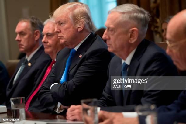 US President Donald Trump holds a Cabinet Meeting alongside Secretary of the Interior Ryan Zinke Secretary of State Rex Tillerson Secretary of...