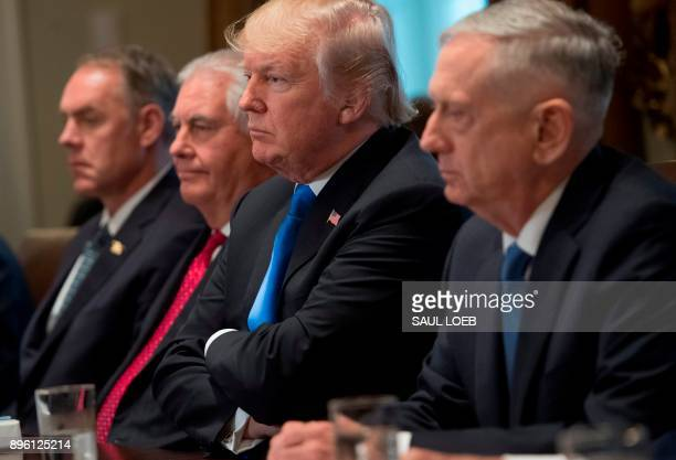 US President Donald Trump holds a Cabinet Meeting alongside Secretary of the Interior Ryan Zinke Secretary of State Rex Tillerson and Secretary of...