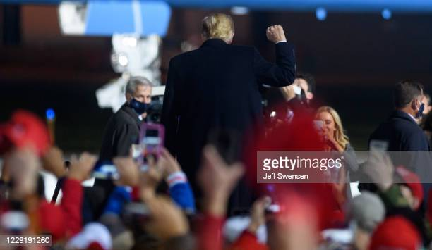 President Donald Trump holds a campaign rally at North Coast Air aeronautical services at Erie International Airport on October 20, 2020 in Erie,...