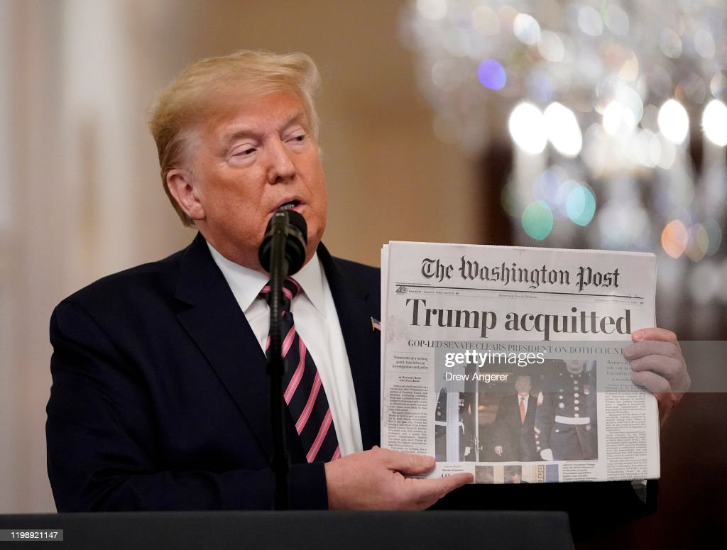 President Trump Delivers Statement On Senate Impeachment Trial's Acquittal : News Photo