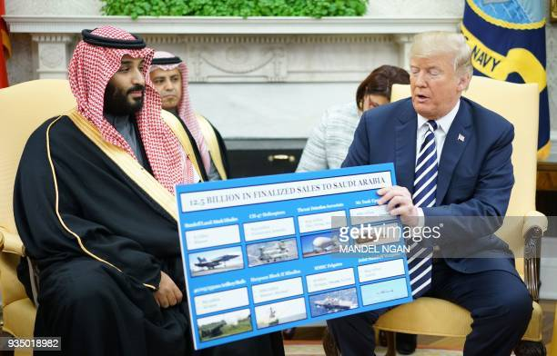 President Donald Trump holds a defence sales chart with Saudi Arabia's Crown Prince Mohammed bin Salman in the Oval Office of the White House on...