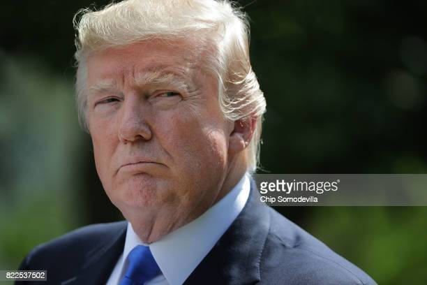 President Donald Trump holds a joint news conference with Lebanese Prime Minister Saad Hariri in the Rose Garden at the White House July 25, 2017 in...