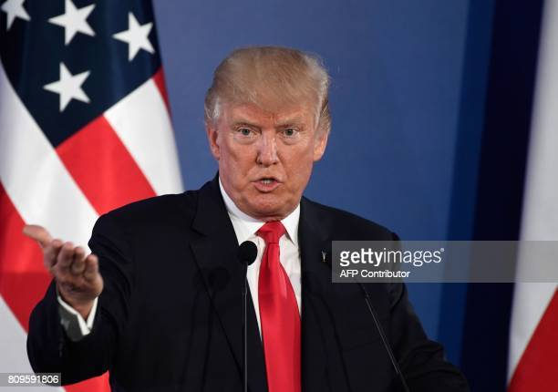 US President Donald Trump holds a joint press conference with his Polish counterpart at the Royal Castle in Warsaw Poland July 6 2017 / AFP PHOTO /...