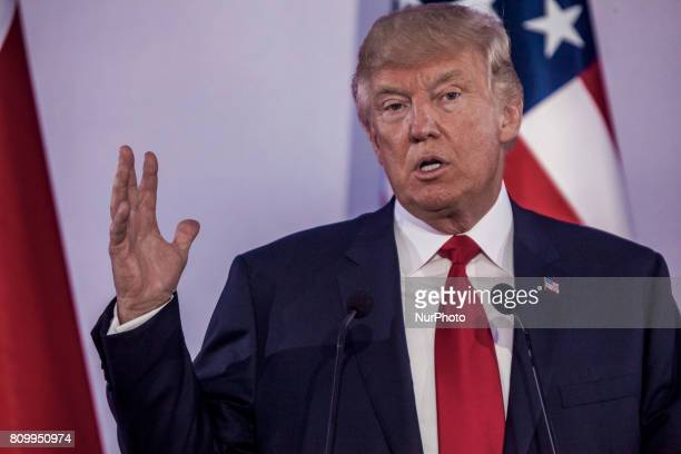US President Donald Trump holds a joint press conference with his Polish counterpart at the Royal Castle in Warsaw Poland July 6 2017