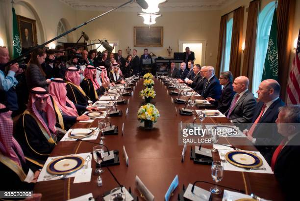 US President Donald Trump holds a lunch meeting with Saudi Arabia's Crown Prince Mohammed bin Salman and members of his delegation in the Cabinet...
