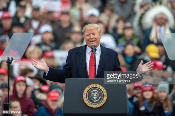 S President Donald Trump holds a Make America Great Again rally at the Bozeman Yellowstone International Airport in support of Republican Senate...