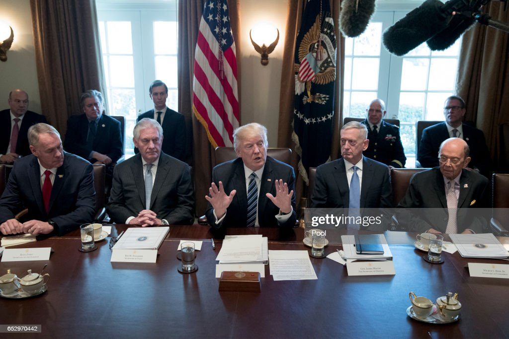 President Donald Trump holds a meeting with members of his cabinet including Secretary of the Interior Ryan Zinke (L), Secretary of State Rex Tillerson (2-L), Secretary of Defense James Mattis (2-R) and Secretary of Commerce Wilbur Ross (R). in the Cabinet Room of the White House on March 13, 2017 in Washington, DC. This was the first official meeting of Trump's cabinet.