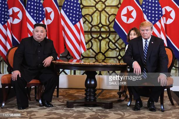 US President Donald Trump holds a meeting with North Korea's leader Kim Jong Un during the second USNorth Korea summit at the Sofitel Legend...