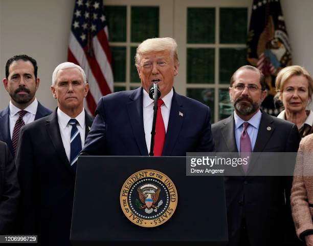 S President Donald Trump holds a news conference about the ongoing global coronavirus pandemic in the Rose garden at the White House March 13 2020 in...