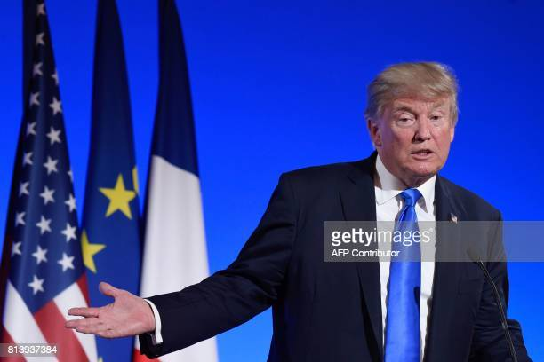 US President Donald Trump holds a press conference following meetings with French President at the Elysee Palace in Paris on July 13 during the US...