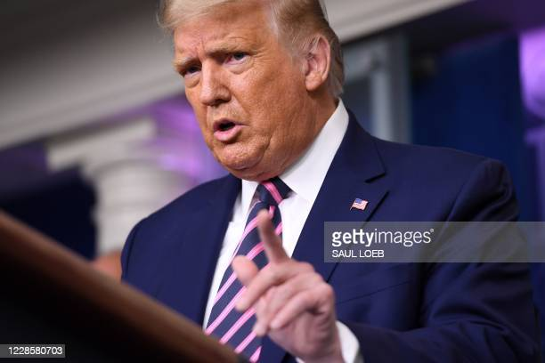President Donald Trump holds a press conference in the Brady Press Briefing Room at the White House in Washington, DC, September 18, 2020.