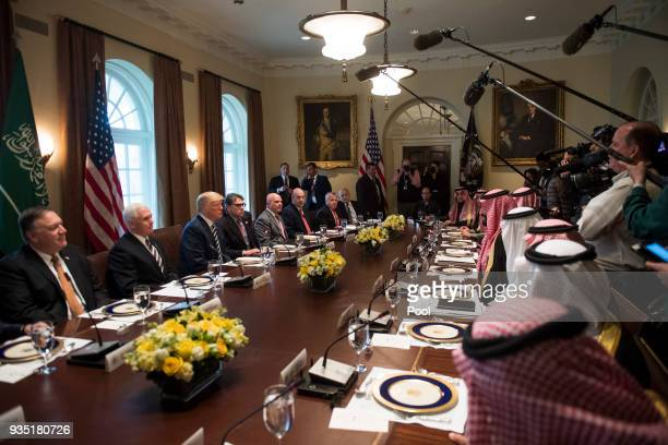 President Donald Trump holds a working lunch with Crown Prince Mohammed bin Salman of the Kingdom of Saudi Arabia in the Oval Office at the White...