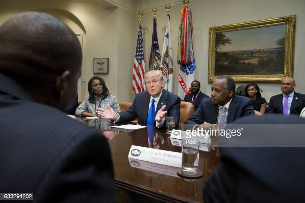 President Donald Trump holds an African American History Month listening session attended by nominee to lead the Department of Housing and Urban...