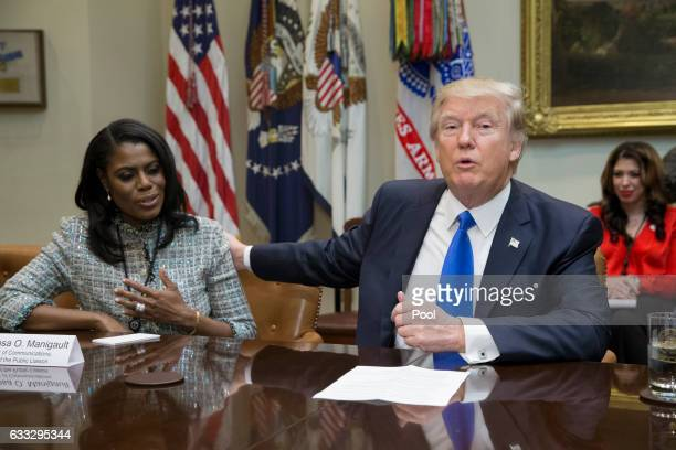 President Donald Trump holds an African American History Month listening session attended by Director of Communications for the Office of Public...