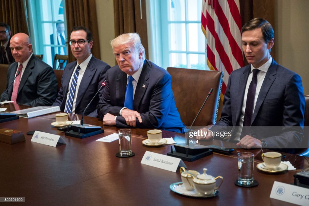 U.S. President Donald Trump holds an expanded bi-lateral meeting with Saad Hariri, Prime Minister of Lebanon, in the Oval Office at the White House on July 25, 2017 in Washington, DC. Also pictured are National Security Advisor H.R. McMaster, Steve Mnuchin, U.S. Secretary of Treasury, and White House Senior Advisor Jared Kushner.