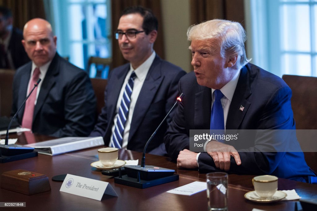 U.S. President Donald Trump holds an expanded bi-lateral meeting with Saad Hariri, Prime Minister of Lebanon, in the Oval Office at the White House on July 25, 2017 in Washington, DC. Also pictured are National Security Advisor H.R. McMaster, Steve Mnuchin, U.S. Secretary of Treasury.