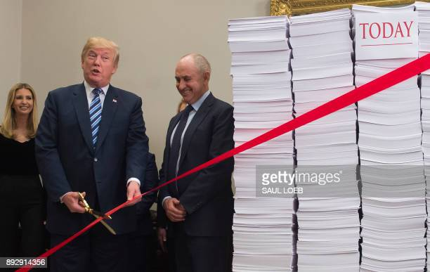 US President Donald Trump holds gold scissors as he prepares to cut a red tape tied between two stacks of papers representing the government...