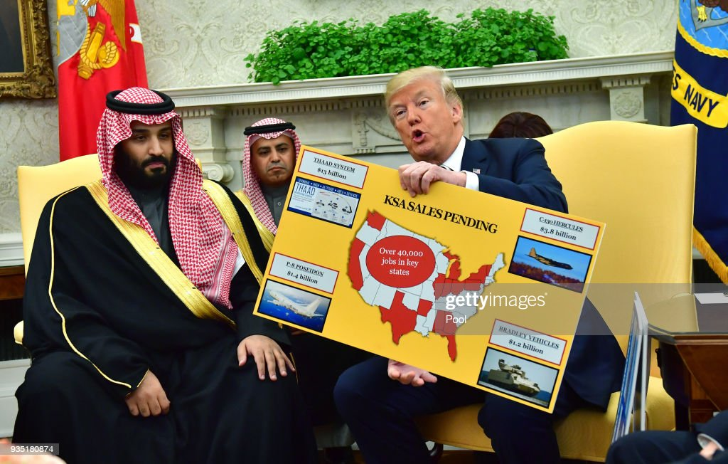 President Trump holds a working lunch with Prince Mohammed bin Salman of Saudi Arabia at the White House : Foto jornalística