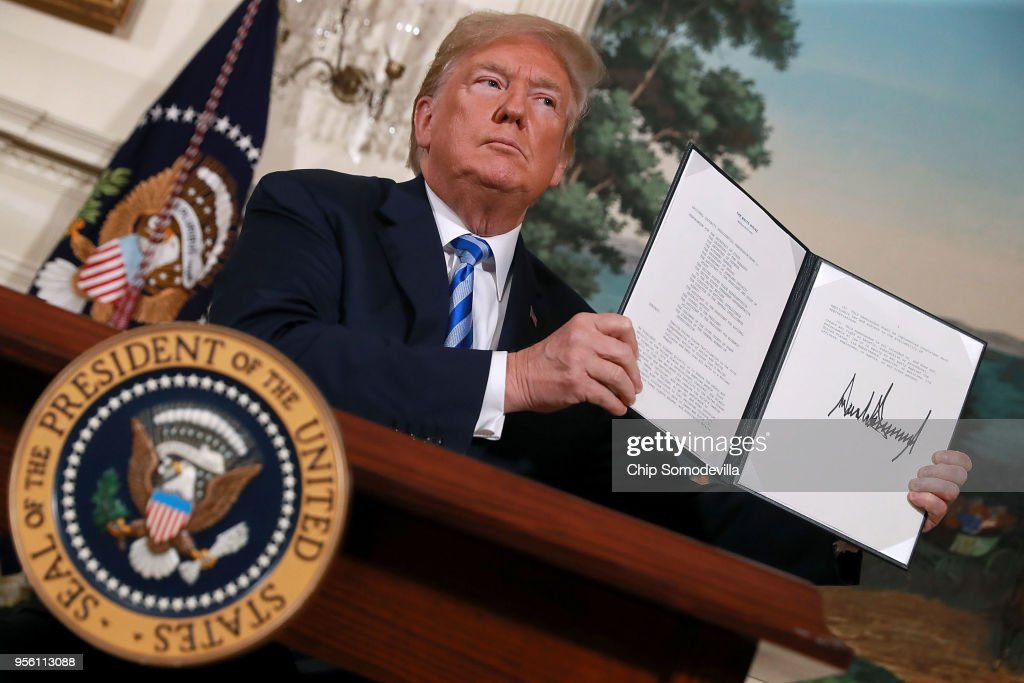 President Trump Makes Announcement On Iran Deal : News Photo